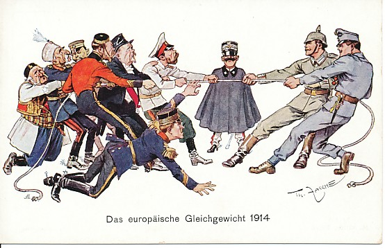 To the left, caricatures of a fallen King Albert of Belgium, Tsar Nicholas of Russia, President Poincare of France, generic (?) caricatures of an English man and a Japanese soldier, Kings Peter of Serbia, and Nikola of Montenegro engaging in a tug of war, the rope being held on the right by a German (in gray) and an Austro-Hungarian soldier. Between the teams and behind the rope stands the diminutive caped figure of King Victor Emmanuel of Italy, all hat, mustache, and chin.