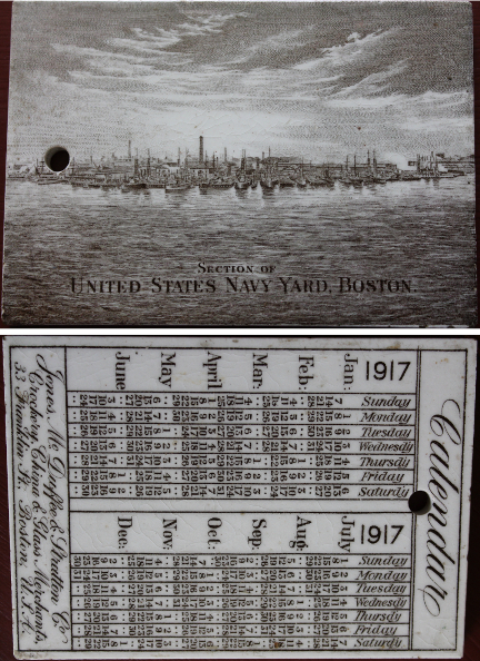 1917 Wedgwood Calendar Tile with the U.S. Navy Yard in Boston