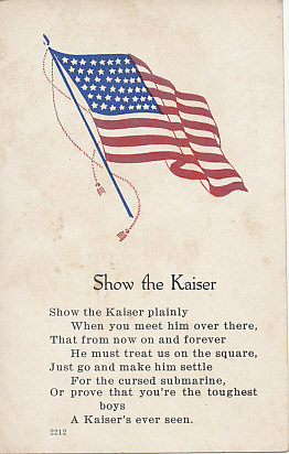 A poem beneath a United States flag calls on American boys to show the Kaiser.