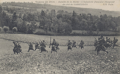 The Battle of the Marne, September 1914. The infantry are very likely from the French Sixth Army advancing against the German First Army northeast of %+%Location%m%63%n%Paris%-%. The Sixth Army attacked on September 5, the day before French Commander %+%Location%m%10%n%Joffre%-%'s counterattack from the Marne River that ended, and in part reversed, the lengthy %+%Event%m%113%n%Allied retreat%-%.