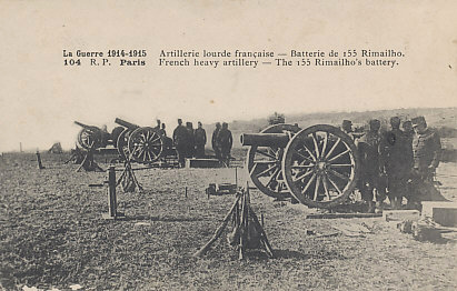 A battery of French Rimailho 155mm Howitzers, a gun capable of delivering up to 15 rounds per minute. With a range of 6,500 yards, it was obsolete by 1916.