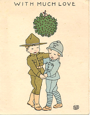 "1918 YMCA folding calendar card of two child French and American soldiers dancing beneath a ball of mistletoe and the words ""With much Love"", by Ray or R.A.Y.