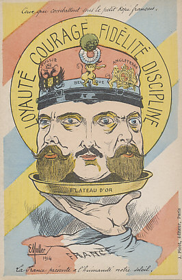 A golden platter: an unusual depiction of Tsar Nicholas II of Russia, King Albert I of Belgium, and King George V of Great Britain, France's allies in its battle against Germany.