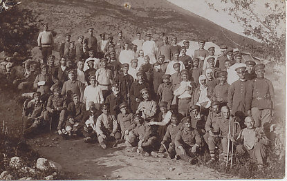 Bulgarian Soldiers, many of them wounded, on the Salonica Front. Bandages on hands, arms, heads, eye, a number with canes, one with crutches.
