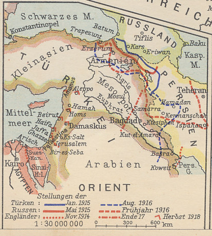 A map of the Russian-Turkish front from Der Weltkrieg 1914-1918, a 1930s German history of the war illustrated with hand-pasted cigarette cards, showing the Turkish Empire in Asia Minor and Mesopotamia, the Mediterranean, Black, and Caspian Seas and the Persian Gulf. To the west is Egypt, a British dominion; to the east Persia. Erzerum in Turkey and Kars in Russia were the great fortresses on the frontier.