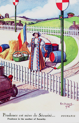 Neutral Romania, personified as a woman in national dress, raises the Romanian flag before her wealth of wheat, baskets of bread, and barrels of food and oil, barring the path of a train from which a Turkish fez peeps. The illustration is not geographically accurate, as Romania did not share a border with Turkey, but did (and does) with Bulgaria, her southern neighbor, who peers over a hill to the right. Over Romania's right shoulder, the spiked helmet of Germany and shako of Austria-Hungary rise above the horizon. By Em. DuPuis, 1916. Romania formally set aside the prudence referred to in the caption on August 27, 1916 when she declared war on Austria-Hungary; she was soon at war with Germany, Bulgaria, and Turkey as well.