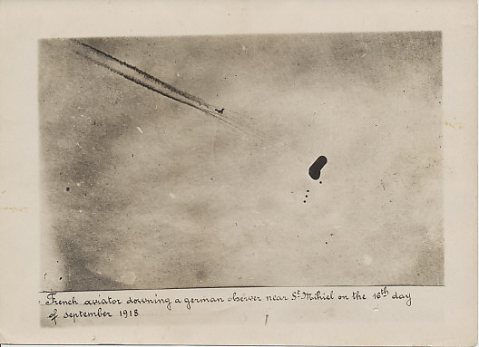 Photograph of a French aviator downing a German observation balloon near St. Mihiel on September 16, 1918, the last day of the American St. Mihiel Offensive. That same day American airmen Frank Luke and Joe Wehner downed three balloons in the sector.