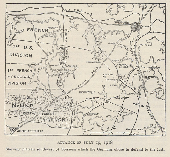 The advance of July 19, 1918 in the Aisne-Marne Offensive. From 'The History of The A.E.F.' by Shipley Thomas.