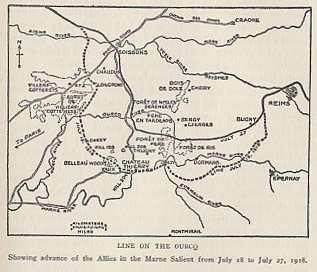 Line on the Ourcq showing advance of the Allies in the Marne Salient from July 18 to July 27, 1918. From %i1%The History of The A.E.F.%i1% by Shipley Thomas.