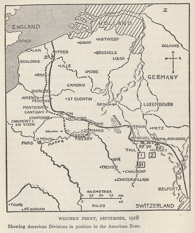 Map of the Western Front in early September 1918 showing the American divisions in position in the American Sector. The Americans reduced the St. Mihiel sector in an offensive beginning on September 12. The dotted line shows the limit of the German advance from March to July prior to the Allied offensives that had retaken all their gains. From 'The History of The A.E.F.' by Shipley Thomas.