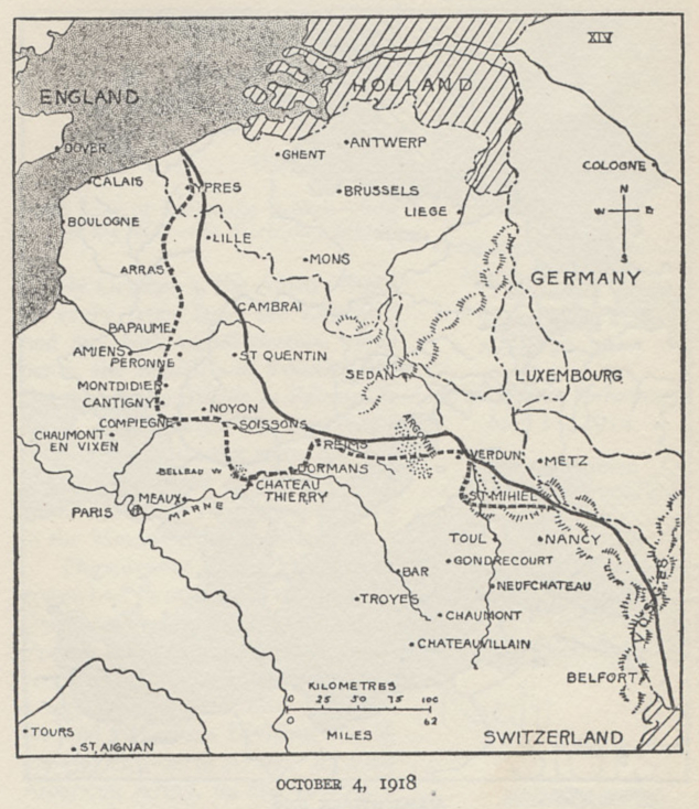 Map of the Western Front on October 4, 1918. From 'The History of The A.E.F.' by Shipley Thomas.