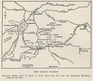 Map of the Marne salient showing the battle line of June 2, 1918. From %i1%The History of The A.E.F.%i0% by Shipley Thomas.