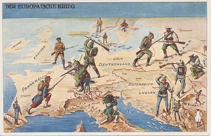 A Swiss postcard of 'The European War' in 1914. The Central Powers of Germany and Austria-Hungary face enemies to the east, west, and south. Germany is fighting the war it tried to avoid, battling Russia to the east and France to the west. Germany had also hoped to avoid fighting England which came to the aid of neutral (and prostrate) Belgium, and straddles the Channel. Austria-Hungary also fights on two fronts, against Russia to the east and Serbia and Montenegro to the south. Italy, the third member of the Triple Alliance with Germany and Austria-Hungary, declared neutrality, and looks on. Other neutral nations include Spain, Norway, Sweden, Denmark, Switzerland, Romania, Bulgaria, and Albania. Japan enters from the east to battle Germany. The German Fleet stays close to port in the North and Baltic Seas while a German Zeppelin targets England. The Austro-Hungarian Fleet keeps watch in the Adriatic. Turkey is not represented, and entered the war at the end of October, 1914; Italy in late May, 1915.