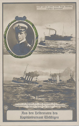 On September 22, 1914, Captain Weddigen commanding the submarine U-9, sank three British cruisers, Aboukir, Hogue, and Cressy, with a loss of 62 officers and 1,397 British sailors. In the lower picture, one of the British cruisers is already sinking, stern first, the second has been hit, and the third follows behind. U-9's periscope breaks the surface in the foreground.
