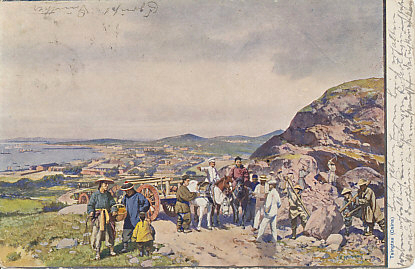 Chinese laborers working under the direction of German supervisors on a hill above the city of Tsingtau, China. The card was sent from Earl's Court in London, January 6, 1905, and cancelled  in Teichel, Germany two days later. From a painting by K. Hei...