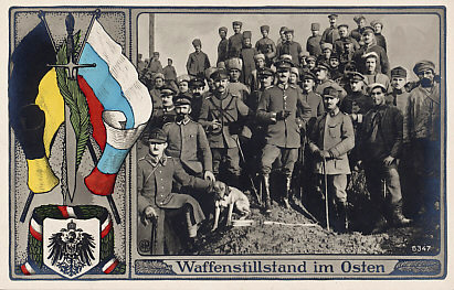 Postcard celebrating the ceasefire on the Eastern Front. The troops are Russian, Austro-Hungarian, and German. The flags are Austrian and Russian; the coat of arms and bunting German. Russia declared a ceasefire on December 15, 1917. The Treaty of Brest-Litovsk, ending Russia's involvement in the war, was signed on March 3, 1918 between Russia and the Central Powers.