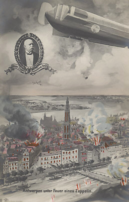 On October 9, 1914 Antwerp was bombed by a Zeppelin. German forces occupied the city the next day. Postcard with an inset portrait of Count von Zeppelin.