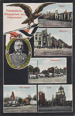 Pictures of destruction from East Prussia and the Russian advance of August 1914. General Paul von Hindenburg was brought out of retirement to command German forces in the area, and destroyed the Russian Second Army in the Battle of Tannenberg. With Erich Ludendorff he commanded the army on the Eastern Front before taking supreme command of the German Army in 1916.