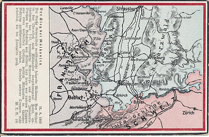Map of Alsace and the Franco-German border from Switzerland north along the Vosges Mountains to Strasbourg. The postcard celebrates the German victory at Mulhouse August 11, 1914, retaking the city from the French.