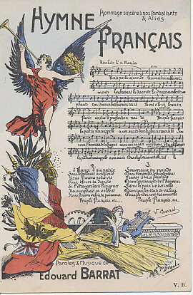 Hymne Français, words and music by Edouard Barrat. The illustration by P. DuBote (?) includes the flags of France and her allies Belgium, Russia, and the United Kingdom.