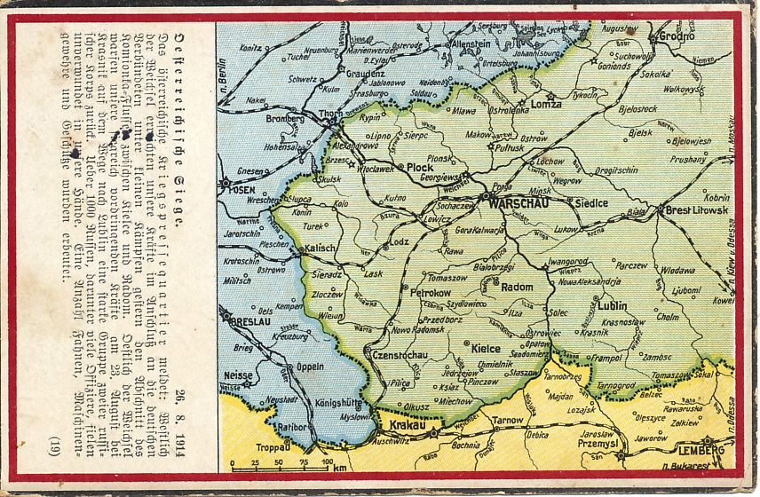 Postcard report and map of an Austrian victory at Krasnik on August 26, 1914. The three-day %+%Event%m%122%n%Battle of Krasnik%-%, an Austro-Hungarian victory, began on August 23, 1914 when General Dankl leading the Austro-Hungarian First Army,  advancing, struck the Russian Fourth Army, and drove them back towards Lublin. Russia is shown in green, Austria-Hungary yellow, and Germany blue.