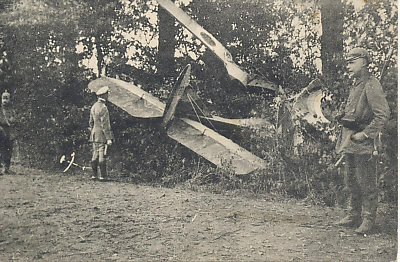German fighter pilot Max Immelmann at the site of his fourth victory on October 10, 1915. With 15 victories to his credit, Immelmann died on June 18, 1916, after brushing wingtips with a fellow pilot.