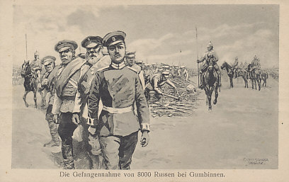 An illustration of captured Russians, led by an officer, laying down their arms under the eyes of German lancers. A Russian victory, the Battle of Gumbinnen, fought on August 20, 1914, was the second encounter between the Russian invaders and the German defenders of East Prussia.