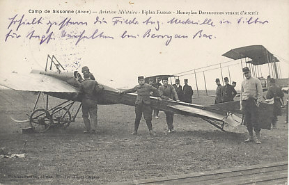 French military aviation, 1914. A Deperdussin monoplane in the foreground which has just landed, and a Farman biplane in the background. The Farman was a pusher, with the propeller positioned behind the pilot. In 1914 planes were used primarily for observation and artillery registration.