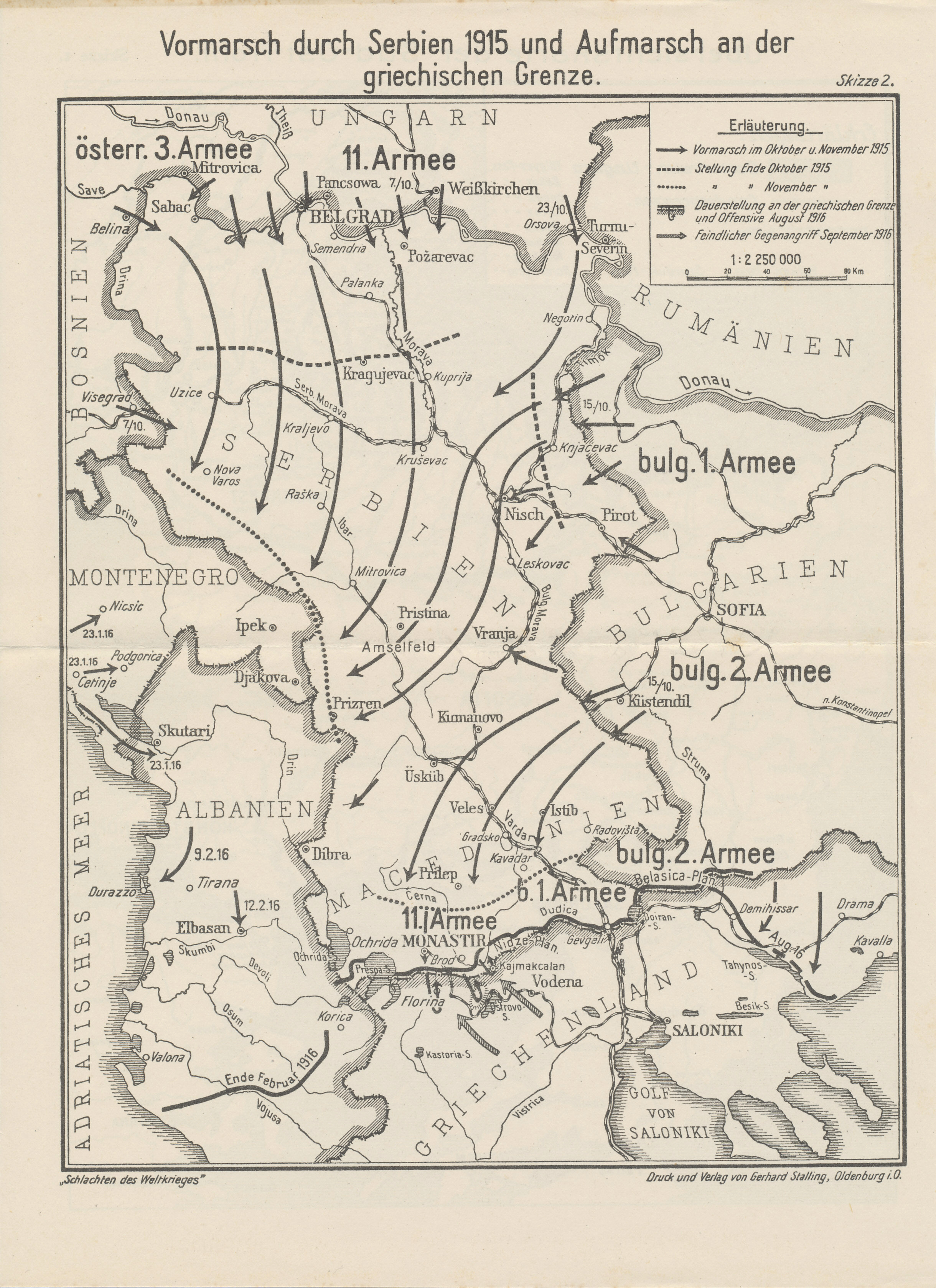 Map of the German, Austro-Hungarian, and Bulgarian advance into Serbia in October and November, 1915, with the Central Power offensive along the Greek border in August 1916 and the Allied counteroffensive the following month. Map from the Reichsarchiv Herbstschlacht in Macedonien (Autumn battle in Macedonia).