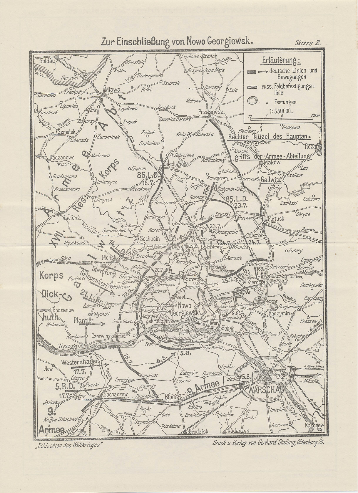 Map of the the Warsaw sector with the Russian Fortress of Novo Georgievsk, August, 1915 from The Capture of Novo Georgievsk, Volume 8 of the Reichsarchive history Battles of the World War.