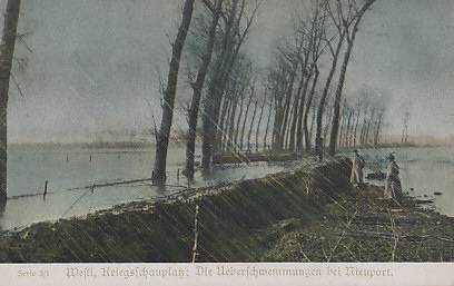 Austrian postcard of the inundations at Nieuport, Belgium, with soldiers at the flood barrier. Driven to a corner of Belgium by Germany's advance, the Belgians tried to make a stand on the Yser Canal in the flat terrain of Flanders. Driven back, they retreated behind the railway embankment that ran from Nieuport on the coast to Dixmude 20 miles inland. On October 27, 1914 they opened the locks to flood the plain before them, a process that took several days. Unable to break through, the Germans abandoned the Battle of the Yser on October 31.