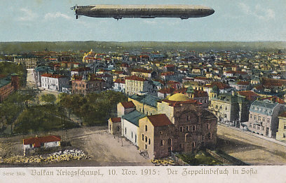 A German Zeppelin visits Sofia, capital of Bulgaria on November 10, 1915. Less than a month earlier Bulgaria had joined the Central Powers.