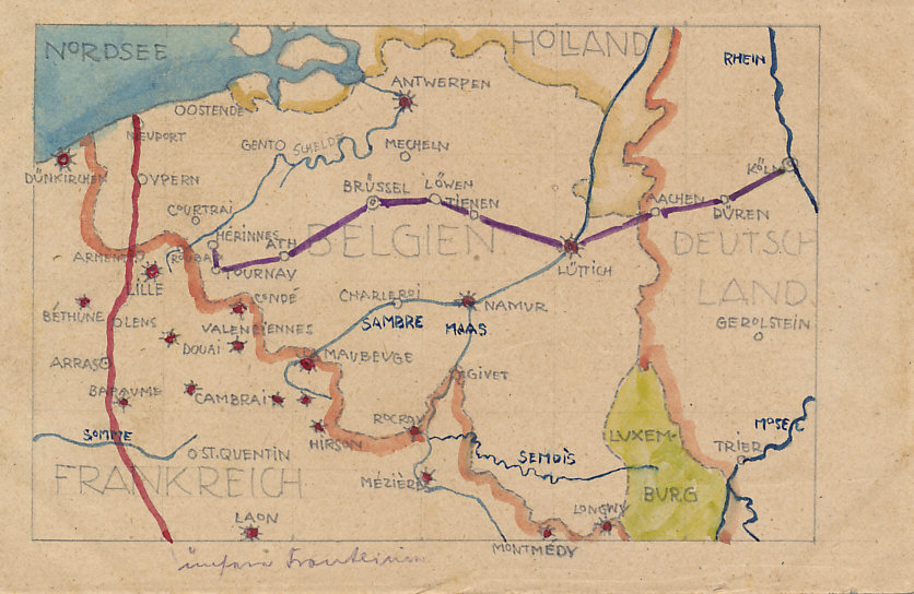 Hand-drawn map of the Western Front showing the front line in red, passing through Nieuport, Ypres, and Arras, and possibly the artists route from Cologne to Liege, Brussels, and Tournay.