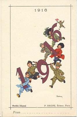 Children dressed as Allied soldiers run to bring the New Year, 1916. France carries the 1, the United Kingdom (in a kilt) and Belgium - his national roundel on his hat - the 9, Serbia and Russia the 1 of the decade, and Italy the 6. Japan, bearing a flag, hurries to catch up. A folding calendar card for 1916 by G. Bertrand.