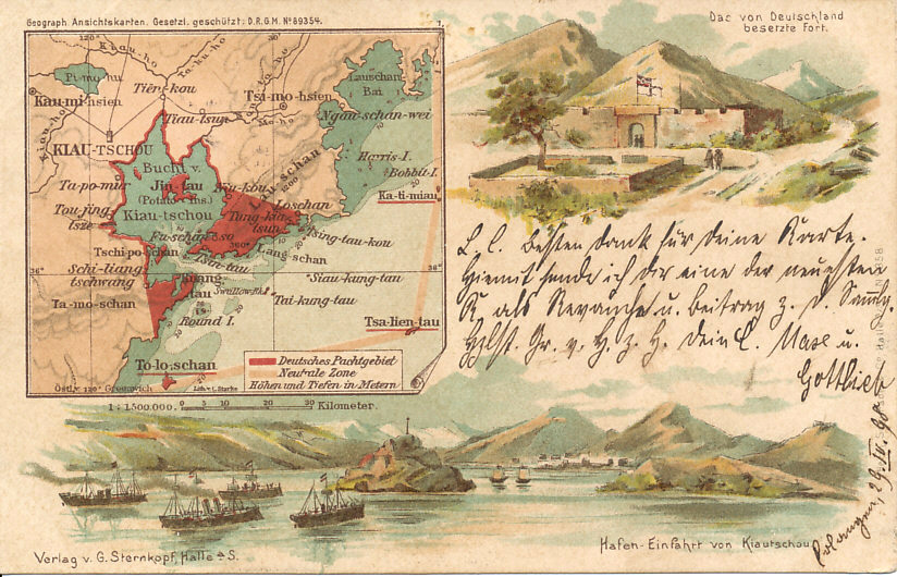 Lithographed German color postcard with inset map of the German concession of Kiautschau in China, postmarked 1898, the year that Germany formalized its seizure of the territory from China with a 99-year lease. 