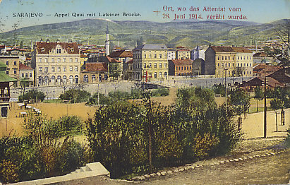 Postcard view of Sarajevo, Bosnia-Herzegovina showing the spot where Archduke Franz Ferdinand, heir to the throne of Austria-Hungary, and his wife Sophie von Hohenberg were assassinated by Gavrilo Princip on June 28, 1914.