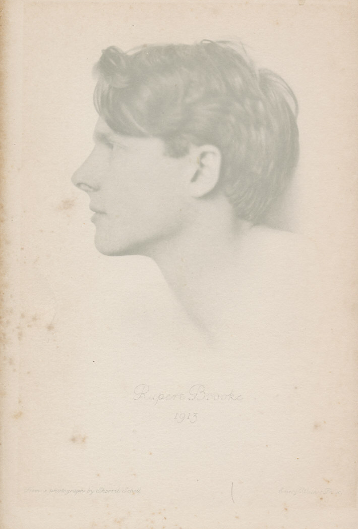 Frontispiece picture of the author from '1914 & other Poems' by Rupert Brooke. The profile is from a 1913 photograph by Sherril Schell.