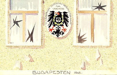 """Budapest, 1918: protesters break windows at the Imperial German Consulate General for Hungary."" Hand-painted watercolor postcard by Schima Martos, showing the shield of the Imperial German Consulate General for Hungary bearing the imperial eagle between two broken windows, glass still falling to the ground.