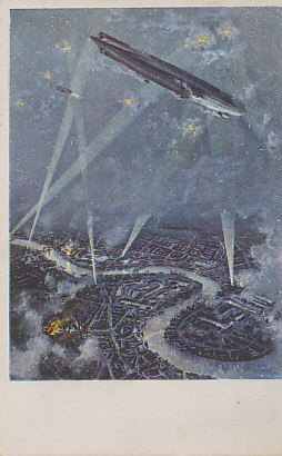 Postcard image of London under an airship raid. In the distance, a fire burns near Tower Bridge, another to the east, south of the Thames. The Schütte-Lanz was a competitor to the Zeppelin, and used a wooden rather than metal frame. After an original painting, 'Schütte-Lanz over London' by Jo. Ruep.