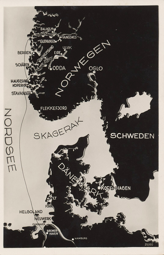 Map of the Skaggerak, between Denmark's Jutland Peninsula, and southern Sweden and Norway, routes between Bremerhaven, Germany and the Hardanger and Sogne Fjords of Norway.