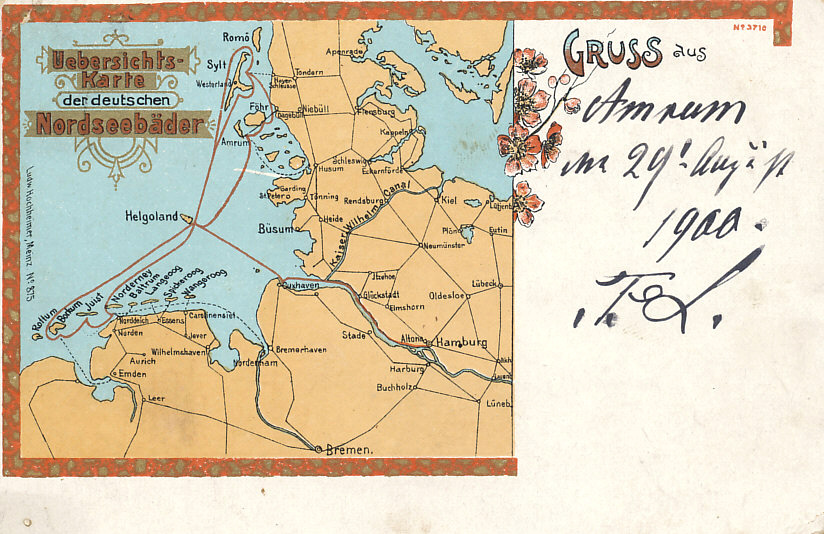 Postcard map of the German beach resorts on the North Sea with ferry routes connecting Hamburg and Cuxhaven on the mainland with the island of Helgoland and, from there, Sylt and Amrum to the north, and Borkum, Juist, and Norderney to the south. The map also shows the Kaiser Wilhelm Canal connecting Kiel, a home to Germany's Baltic Fleet, with the estuary of the Elbe River on the North Sea.