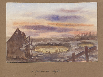 View across No Man's Land between Ypres and Messines in 1917 by Lance Corporal Hugh F. Ward, 97th Field Ambulance, Royal Army Medical Corps. Ward painted this while he was in the sector before, during, and after the June, 1917 Battle of Messines Ridge. Initialed 'H.W.'.