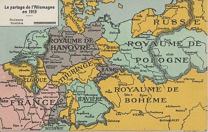 A fantasy division of Germany (and Austria-Hungary) from 1915, after victory by the Entente Allies. France and Belgium both gain territory at the expense of Germany. Russia gains the significant part of the Baltic coast although losing land  to an again-independent Kingdom of Poland. The German Empire is dissolved, the land reverting to its constituent states. Denmark regains Schleswig-Holstein. Austria-Hungary is no more, much of it now the reconstituted Kingdom of Bohemia.