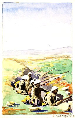 Six white-helmeted soldiers in a snaking trench wait, several with backpacks, one with a rifle, in a flat landscape stretching to a low line of hills in the distance. French original watercolor trench art in postcard size signed P. Garnier 1918(?) (possibly corrected from '1917').