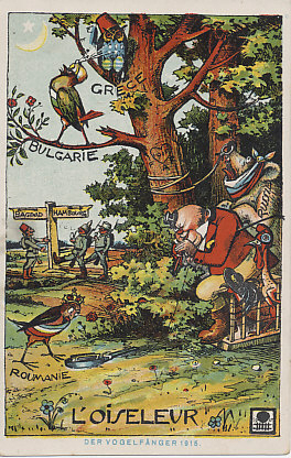 John Bull, symbol of Great Britain and here a bird-catcher, tries to entice the kingdom of Romania, in 1915 a neutral nation, into his trap. He already has Russia by the nose, and the plucked cock of France and an Italian fowl close at hand. Neutral (and wise) Greece rests out of reach, while Bulgaria sings to the Islamic crescent moon of Turkey. In the background Turkish, German, and Austro-Hungarian soldiers meet at a crossroads. Carved into the tree is a heart dated 1915, and the initials