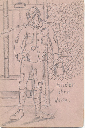 Austro-Hungarian trench art pencil drawing on pink paper of a soldier in a ragged, many-times-patched uniform, labeled