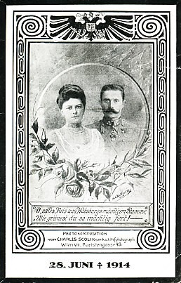 A memorial card for Archduke Franz Ferdinand and his wife Sophie von Hohenberg, the couple framed in circle with roses, within a secessionist frame surmounted by the Hapsburg eagle. A trompe l'oeil plaque reads,