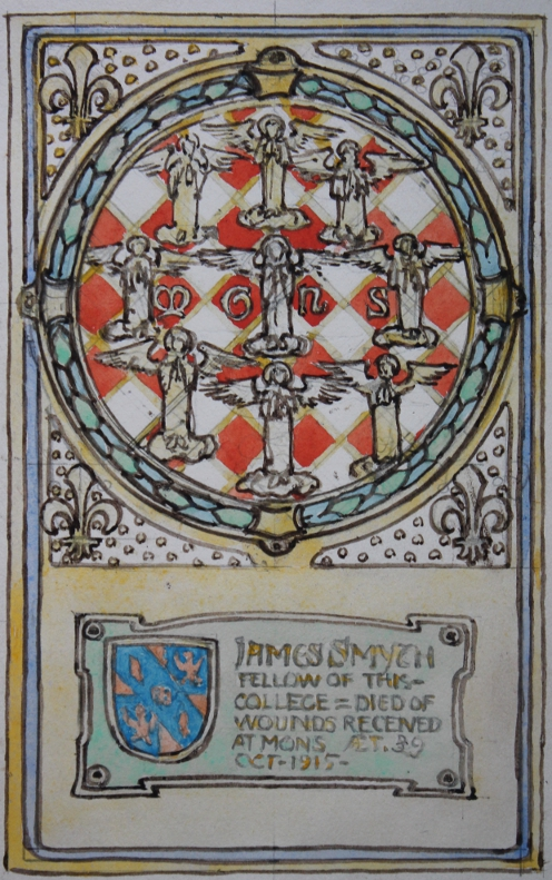 Original watercolor design by Nelson Dawson for a World War I memorial for James Smyth who died on in October 1915 at the age of 39 of wounds received in the Battle of Mons, Belgium, on August 23, 1914.