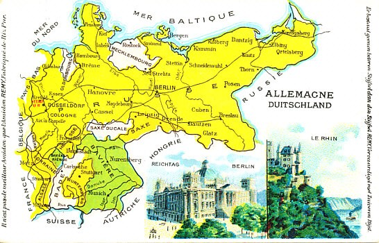 A color map of Germany before and during the war from a French postcard, including the German states, views of the Reichstag in Berlin and the Rhine. Alsace and Lorraine are in the southwest.