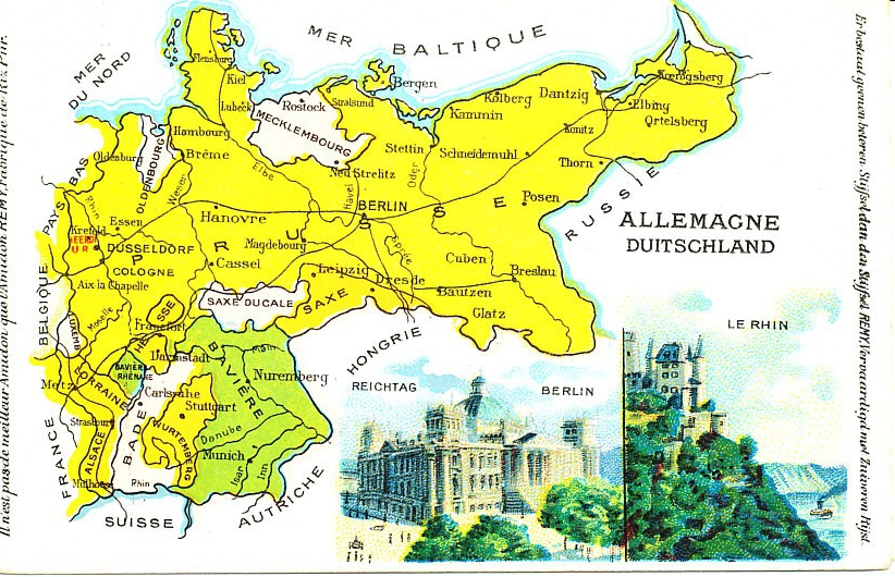 A color map of Germany before and during the war from a French postcard, including the German states, views of the Reichstag in Berlin and the Rhine. Alsace and Lorraine are in the southwest. Higher resolution.
